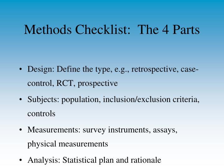 Methods Checklist:  The 4 Parts