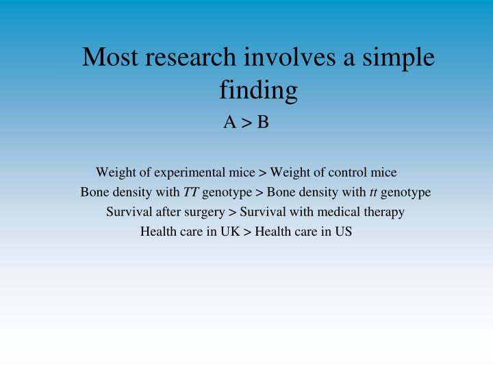 Most research involves a simple finding