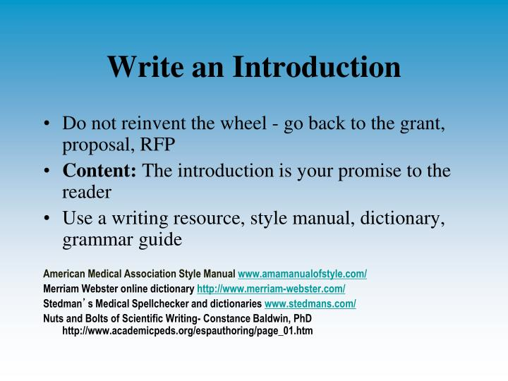 Write an Introduction