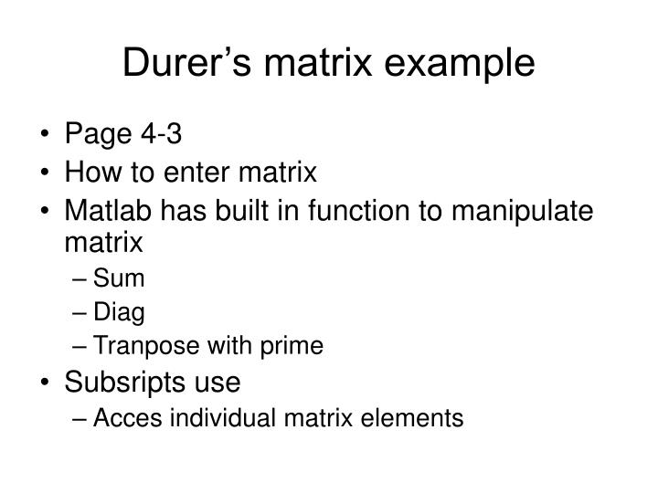 Durer's matrix example
