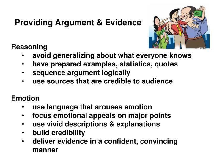 Providing Argument & Evidence