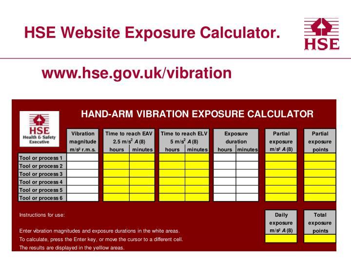 HSE Website Exposure Calculator.