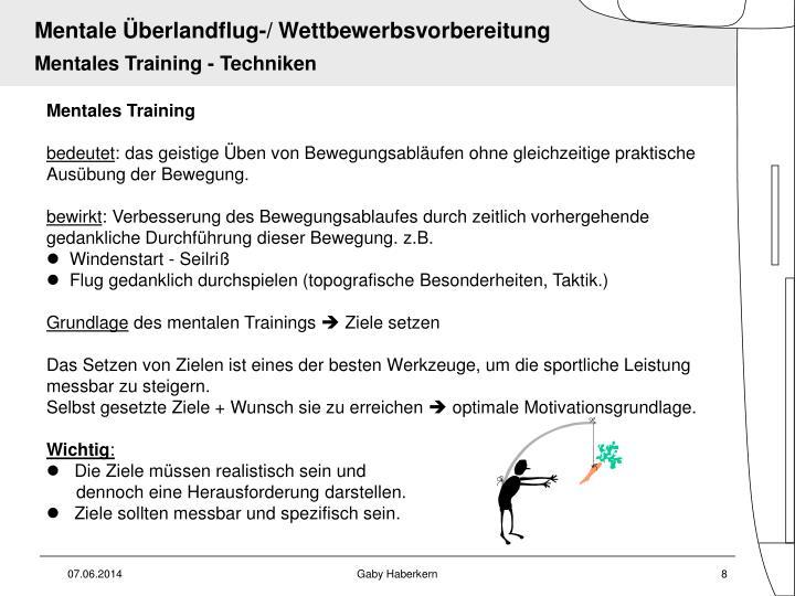 Mentales Training - Techniken