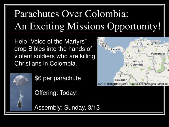 Parachutes Over Colombia: