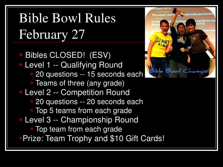 Bible Bowl Rules