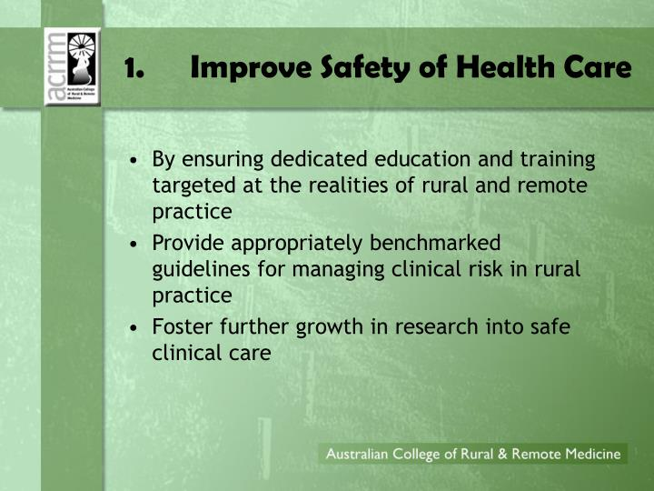 1.Improve Safety of Health Care