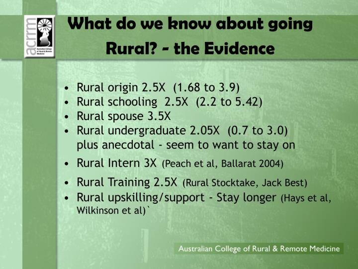 What do we know about going Rural? - the Evidence