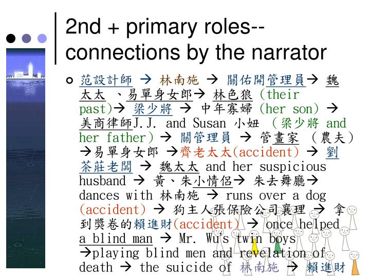 2nd + primary roles-- connections by the narrator