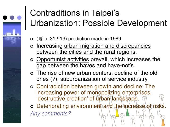 Contraditions in Taipei's Urbanization: Possible Development