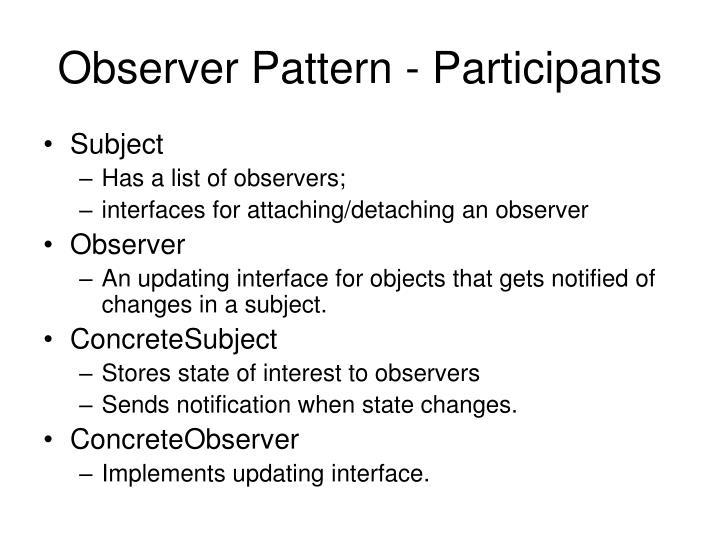 Observer Pattern - Participants