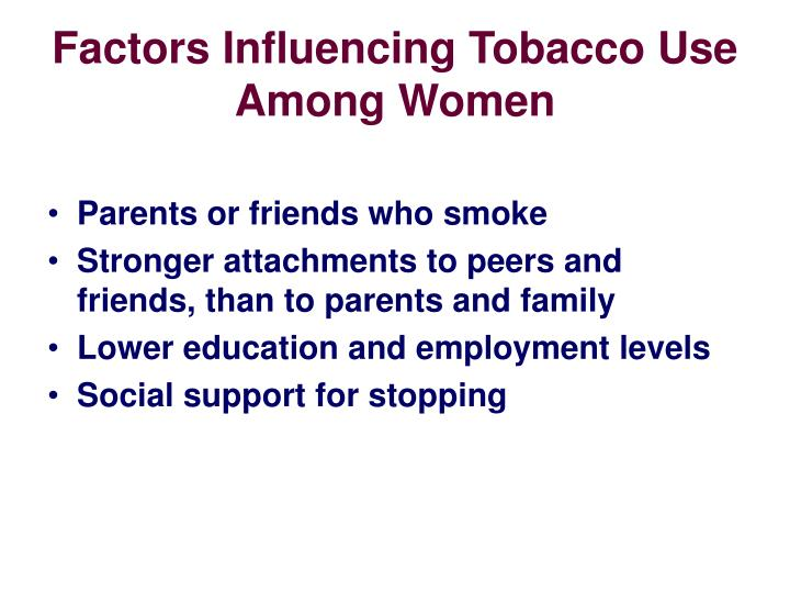 Factors Influencing Tobacco Use Among Women