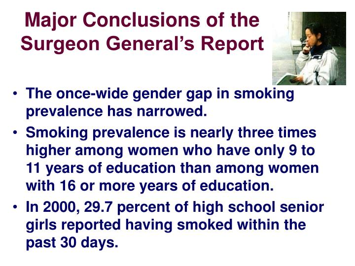 Major Conclusions of the Surgeon General's Report