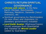 christs return spiritual governance
