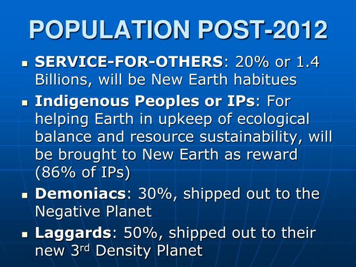 POPULATION POST-2012