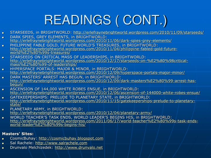 READINGS ( CONT.)
