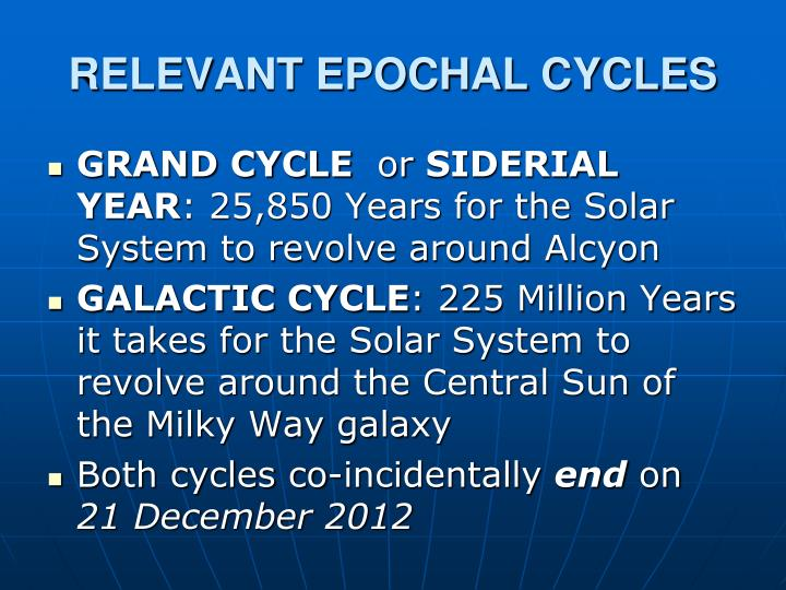 RELEVANT EPOCHAL CYCLES