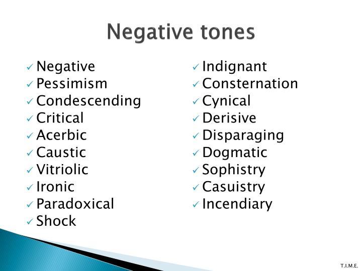 Negative tones