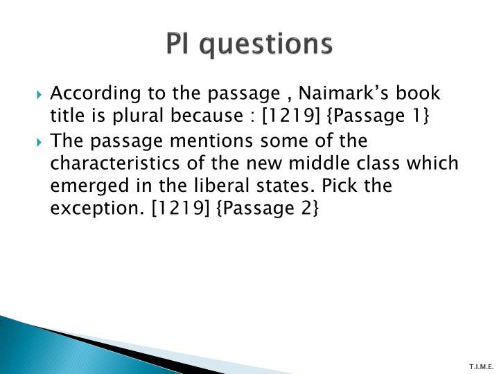 PI questions