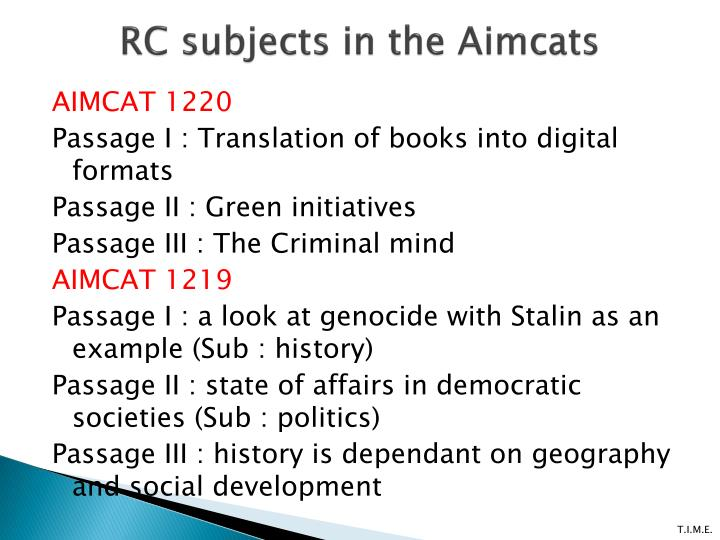 RC subjects in the
