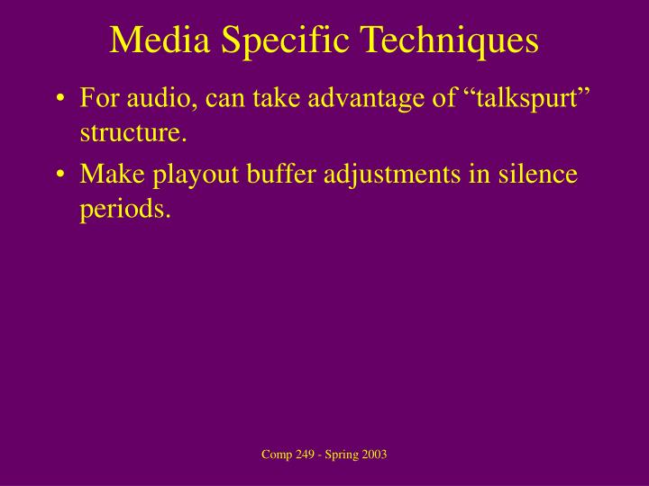 Media Specific Techniques