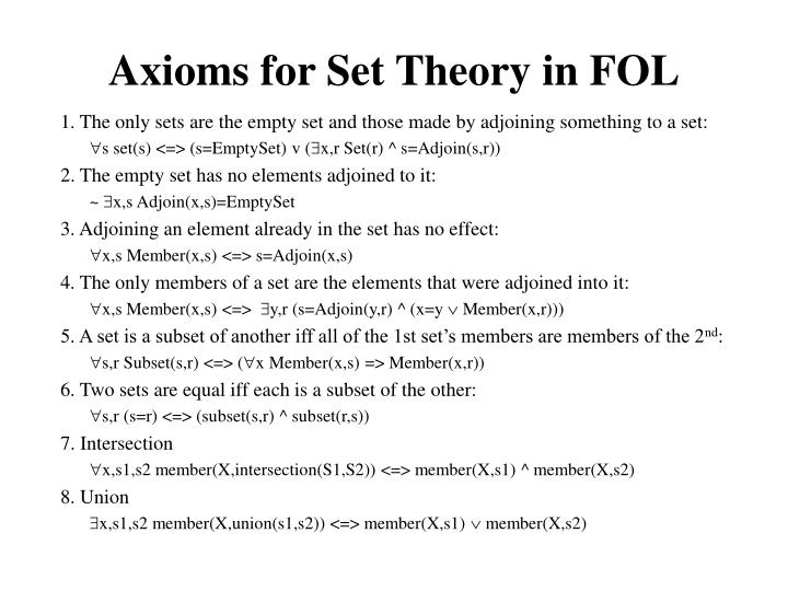 Axioms for Set Theory in FOL
