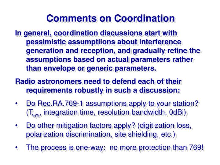 Comments on Coordination