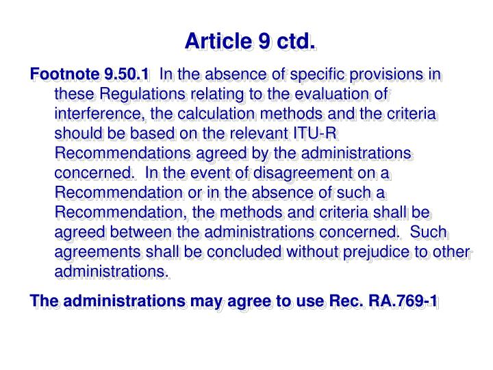 Article 9 ctd.