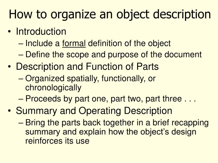 How to organize an object description