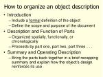 how to organize an object description1