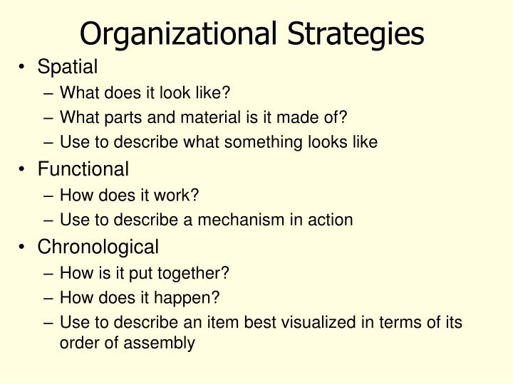 Organizational strategies
