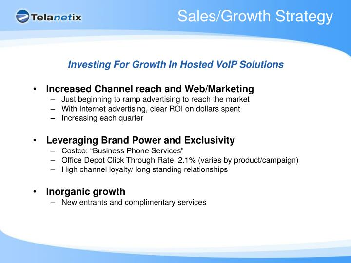 Sales/Growth Strategy