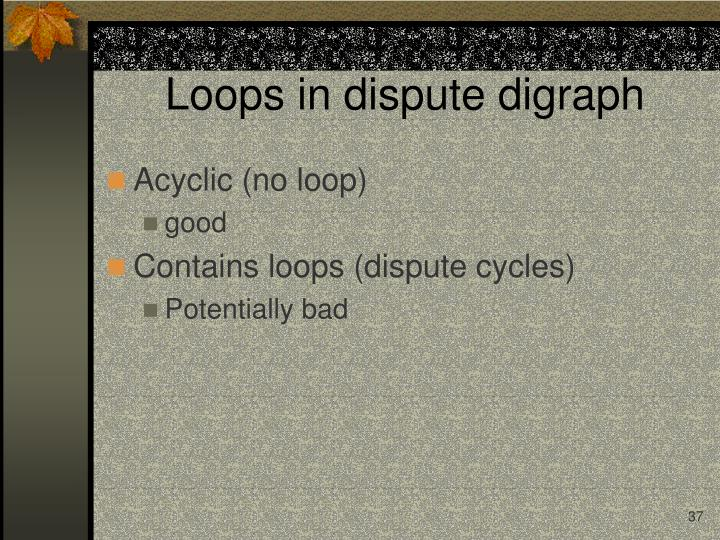 Loops in dispute digraph