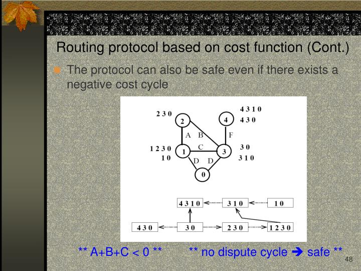 Routing protocol based on cost function (Cont.)