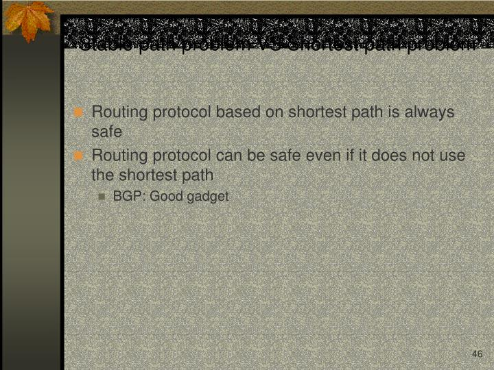Stable path problem VS Shortest path problem