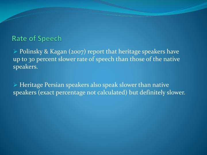 Rate of Speech