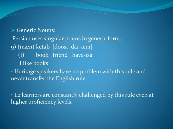 Generic Nouns: