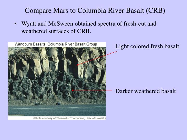 Compare Mars to Columbia River Basalt (CRB)