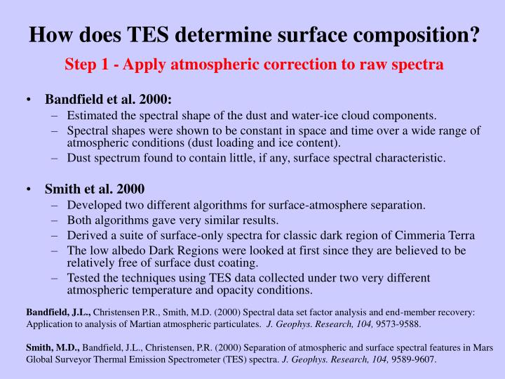 How does TES determine surface composition?