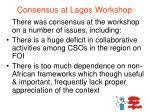 consensus at lagos workshop