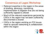 consensus at lagos workshop1