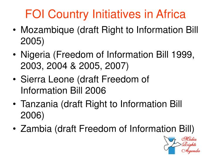 FOI Country Initiatives in Africa