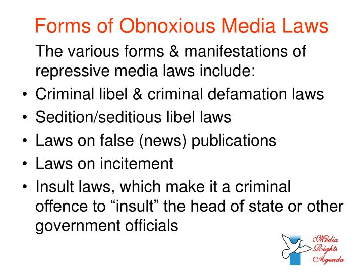 Forms of Obnoxious Media Laws