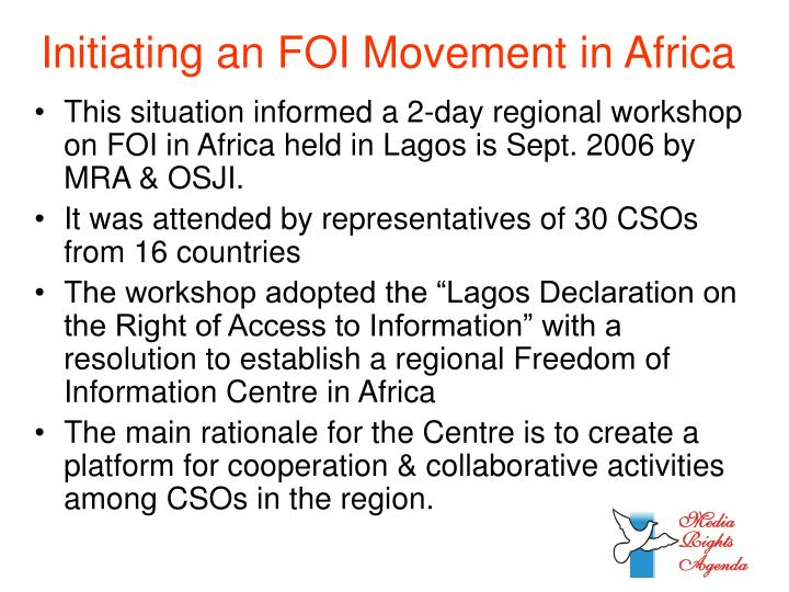 Initiating an FOI Movement in Africa