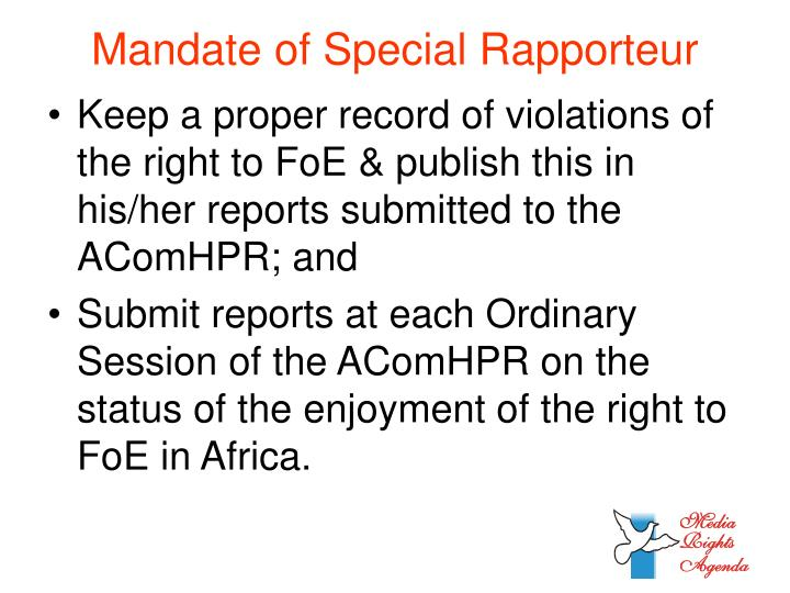 Mandate of Special Rapporteur
