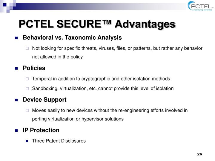 PCTEL SECURE™ Advantages