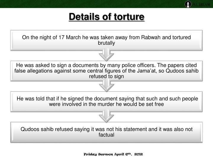 Details of torture
