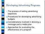 developing advertising programs