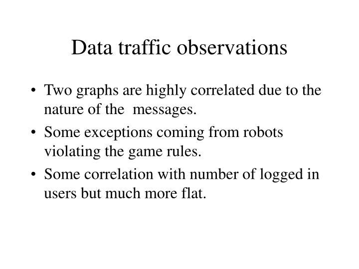 Data traffic observations
