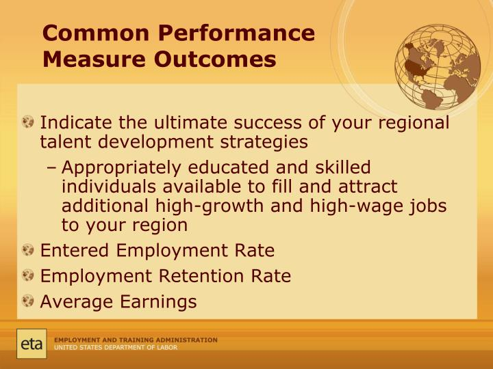 Common Performance Measure Outcomes