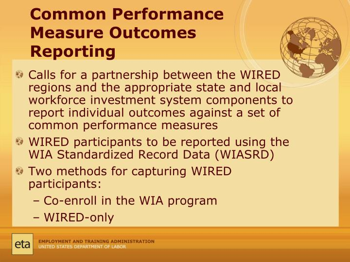 Common Performance Measure Outcomes Reporting